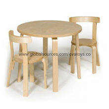 Wooden kid's table and 2 chairs from China (mainland)