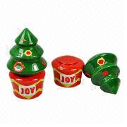Ceramic Christmas Decorations/Salt and Pepper Shakers/Table Decorations, X-mas Tree Design