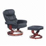 Black Pu Paint Bentwood Recliner Chairs With Ottoman Seat Comfortable Texture