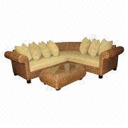 Indonesia Sectional Sofa Made Of Banana Leaf And Wood Framed Oem Odm Orders