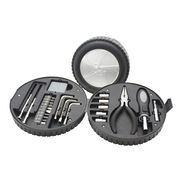 24pcs Auto Tool Kit, Packaged in Tire-shaped Plastic Tool Box, Great Handy Utility Kit