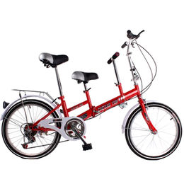 Two-seater tandem parent-child foldable bike, double seat and headstock