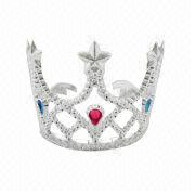 Plastic Crown with Top Star and Teardrop-shaped Stone, Available in Various Colors and Designs
