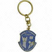 Keychain, Made of Brass or Iron, with Soft Enamel Filled, Various Designs are Available
