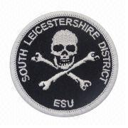 China Embroidered Patch with Heat Cut Boarder, Comes in Various Colors
