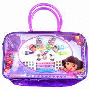 Fashionable Children's Jewelry in Plastic, with Hand Bag/Necklace/Hair Clip/Elastic Ring/Earrings