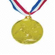 China Zinc Alloy Medal in Golden Plating, OEM Designs Welcomed