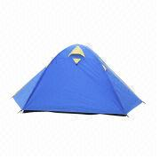 China Camping Tent, Available in Blue, Made of 190T PU