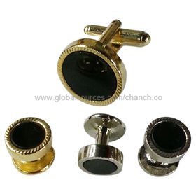 China Metal Cufflinks and Studs Set, Suitable for Men's Tuxedo, Available in Various Colors