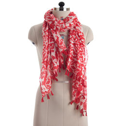 Abstract Printed Fine Cotton Scarf, Available in Various Colors and Sizes
