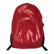 Red Backpack, Made of 1680D + PU Leather Materials, Sized 28 x 44 x 16cm from Fuzhou Oceanal Star Bags Co. Ltd