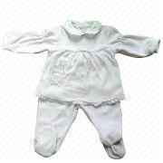 80% Cotton and 20% Polyester Velvet Baby Clothing Sets from China (mainland)