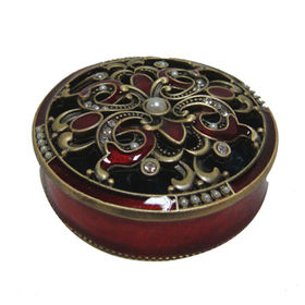 Antique Style Small Round Metal Jewelry Box from China (mainland)