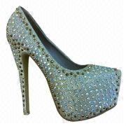 2013 New original design water-resistant star high heels diamond girl love pearl party shoe from China (mainland)