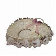 Love House Silk Flower White Lace Heart-shaped Storage Basket from China (mainland)
