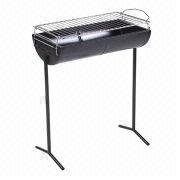 China Oil Drum Half Barrel Charcoal BBQ Grill, high-temp painting, trolley, adjustable height, easy to use