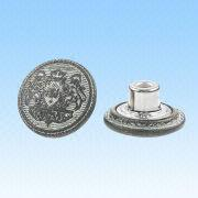 N-5 Alloy Jeans Button, Made of Alloy/Brass with Oxidized Tin Color from HLC Metal Parts Ltd