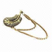 China Drop earring for women, new punk leaf, tassel feather ear cuff, gold alloy