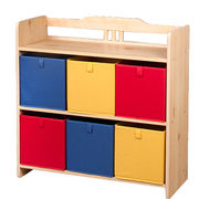 2015 New Popular Design Wooden Toy Bin Organizer for Kid's, with 6-bin Plastic Boxes