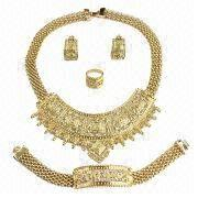 China African India Big Jewelry Set with Gold Plating, Fashionable