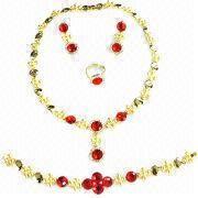 China Big golden jewelry set, fashionable, includes ring, necklace, bracelet/bangles