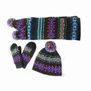 Jacquard Knitted Set, Includes Scarf, Mittens and Pom Pom Hat, Made of 100% Acrylic