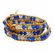 Handmade blue/white glass and alloy beads yellow leather 5-wrap bracelet from China (mainland)