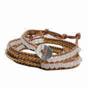 Hot sell white natural stone and gold metal beads wrap leather bracelet from China (mainland)
