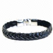 Real Leather Men's Braided Bracelet from China (mainland)