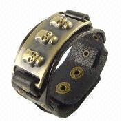 2013 Metal alloy skull genuine leather bracelet from China (mainland)