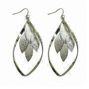 Rhodium heteromorphic iron wire and sandblast stamping drop earring from China (mainland)