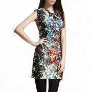 Women's sleeveless shift dress from China (mainland)