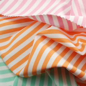 Taiwan Feeder Striped Pique Fabric, Made of 94% Poly and 6% Spandex, with UV-cut, Wicking and Anti-bacteria