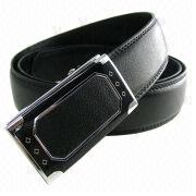 35mm Wide Black Stylish Leather Slide Belt from China (mainland)