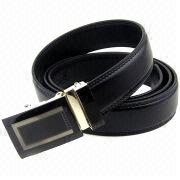 35mm Wide Black Solid Leather Ratchet Belt from China (mainland)