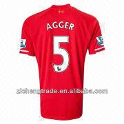 China 13~14 Soccer Uniform Liverpool #5 Agger Home Soccer Jersey
