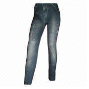 Women's polyester/elastane seamless cropped leggings from China (mainland)