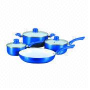 7pcs white ceramic coating cookware set from China (mainland)