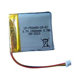 Li-polymer, 3.7V, 1,000mAh, 1S1P, Cell 753440 with PCM and 10K NTC, Lead Out Wires and Connector from Shenzhen BAK Technology Co. Ltd