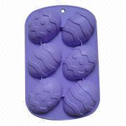 6-cup Easter Egg-shaped Silicone Cake Mold from China (mainland)