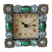 Green Jeweled Small Metal Clock from China (mainland)