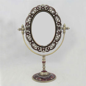 Antique Jeweled Tabletop Metal Mirror from China (mainland)
