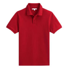 China Classic Men's Polo Shirt, Made of High-quality Cotton Pique in Red, Rib Collar and Cuff, Side Slips