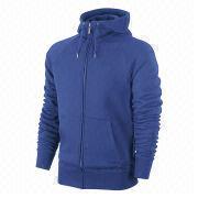 China Plain blue men's zip hoodies