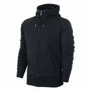 Plain black men's zip hoodies, sweatshirt, made of cotton polyester fleece, custom logos and labels
