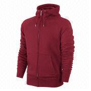 Men's hoodies, sweatshirts, zip up, made of heavy cotton fleece in wine, custom embroidery/printing