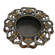 China Antique Jeweled Alloy Tealight Candle Holder
