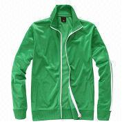 Plain Green Men's Tracksuit, Made of Polyester with White Stripes, Available in Logos, Sizes, Colors