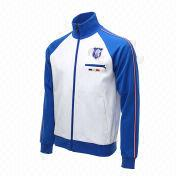 China Men's Team Sports Jacket, Made of Polyester in White and Blue, Raglan Sleeves, Embroidery Logos Ok