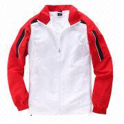 Men's Tracksuit, Made of Polyester with Mesh Lining in Red and White/Custom Embroidery/Printed Logos